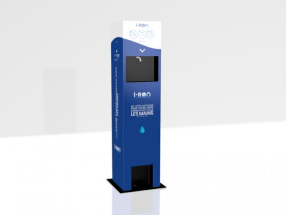 I-ron illustration 3D de la borne gel hydroalcoolique